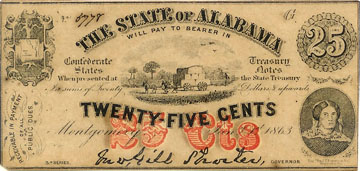 Confederate Currency 25 cents